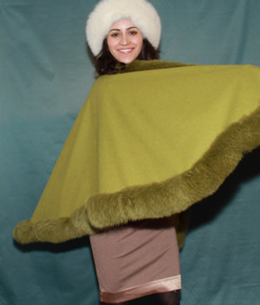 Green Cape with Fox Fur Trim 1