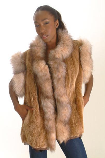 Crystal Fox Beaver Fur Vest Sectional Trim