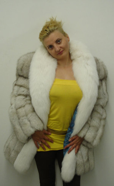 Natural Blue Fox Skin Fur 3/4 Jacket