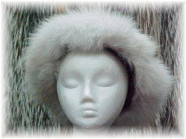 Full Skin Beaver Fur Hat with Blue Fox Trim