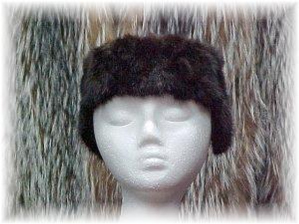 Sectional Mink Fur Headwrap with Ear Flaps