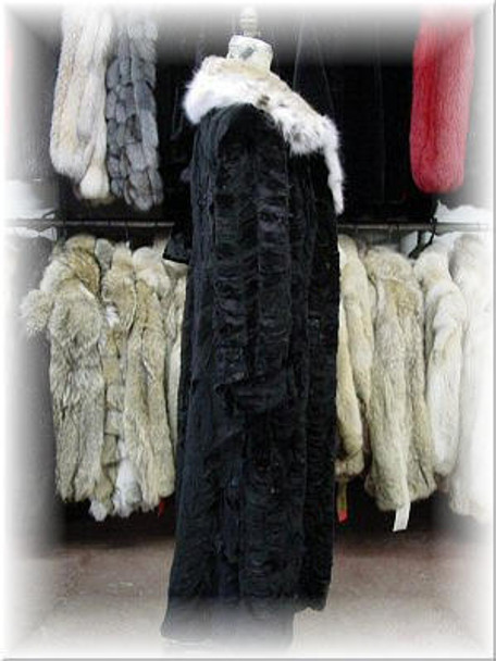 Sheared Mink Fur Coat with Full Skin Lynx Fur Collar