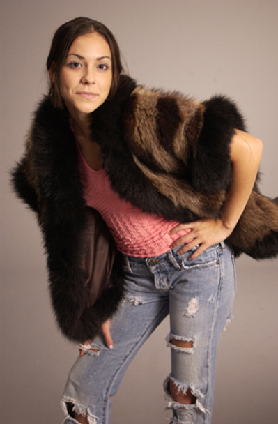 Full Pelt Raccoon Fur Vest with Fox Fur Trim