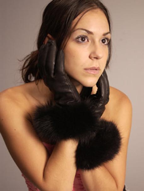 Fur Gloves Fox Trim