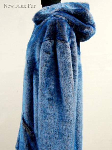 Faux Fur Blue Mink Jacket With Hood