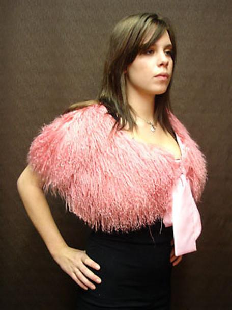 Pink Curly Lamb Shawl Woman's