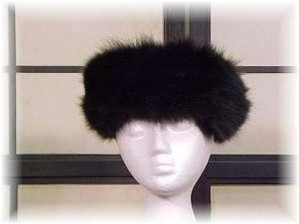 Sectional Black Fox Fur Head Wrap