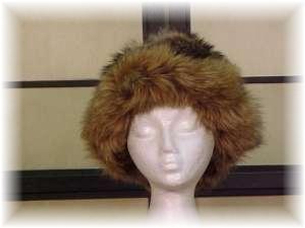 Raccoon Fur Hat with Dyed Brown Fox Trim