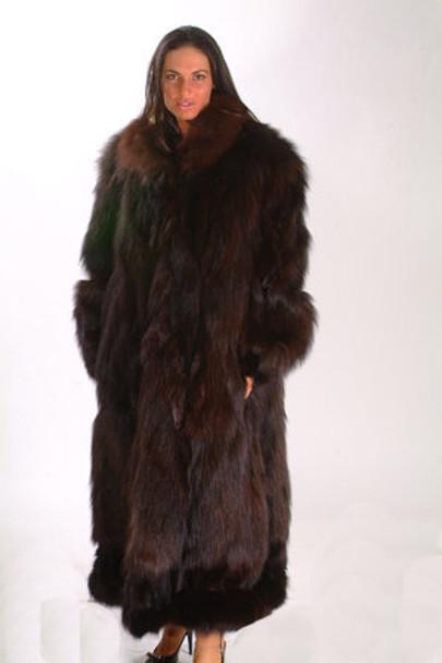 Dark Brown Designer Fox w/ Brown Shawl Collar