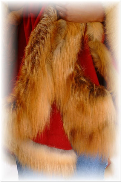 Red Cape with Fox Fur Trim
