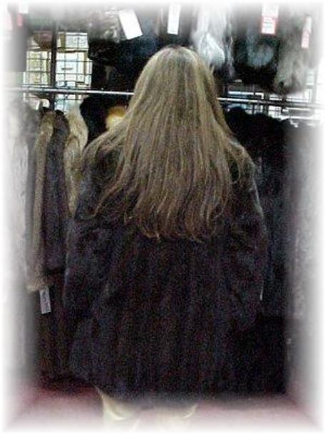 Full Skin Mahogany Mink Fur 3/4 Jacket with Crystal Fox Fur Collar