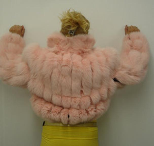 Full Skin Pink Fox Bolero Fur Jacket