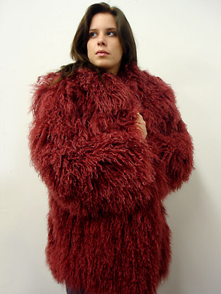 Burgundy Curly Fur Jacket