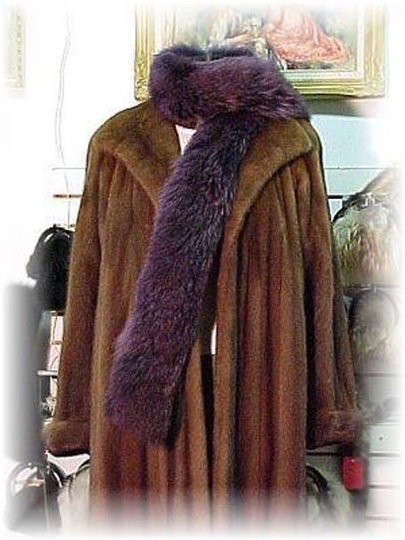 Full Skin Dyed Purple Coyote Fur Scarf