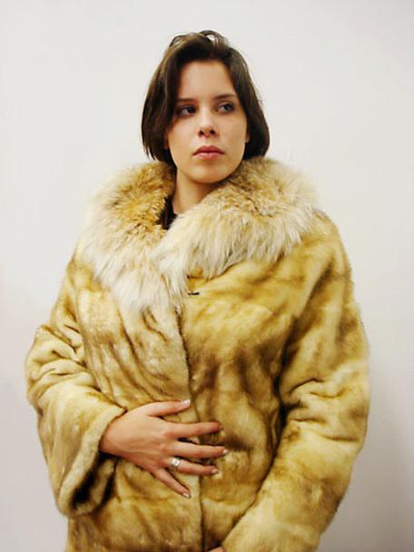 Snow Top Mink lynxs Collar Jacket