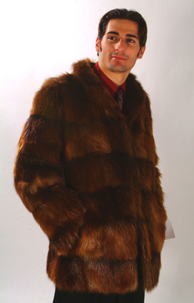 Men's Brown Beaver Fur Jacket