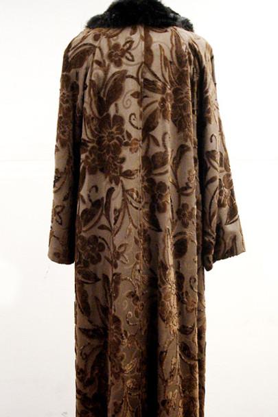 Faux Brown Print Long Coat
