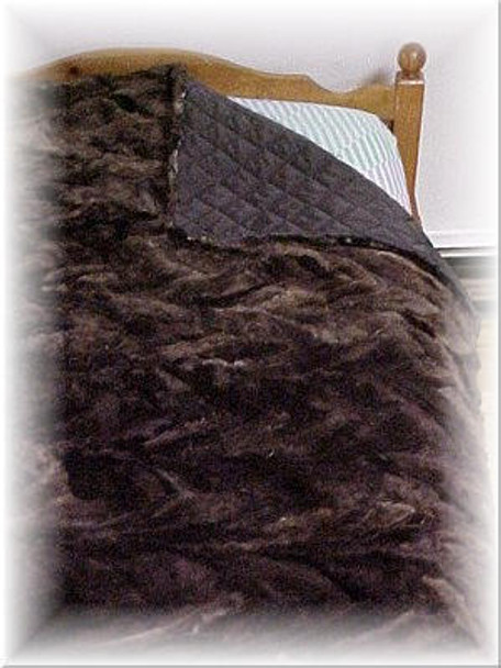Sheared Beaver Design Fur Blanket