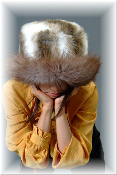 Faux Fur Hat w/ Real Brown Fox Fur Trim 1