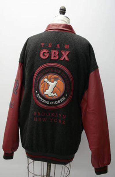 Red Leather w/Black Wool GBX Mens Jacket