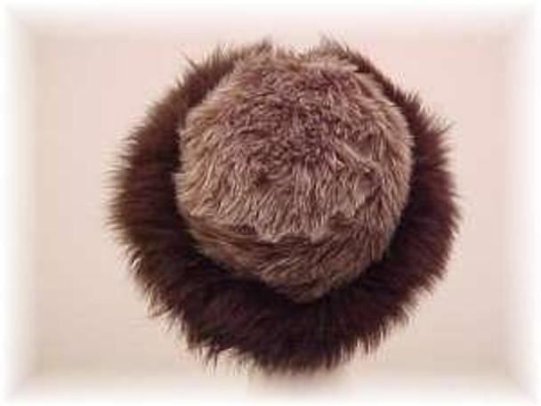 Gray Faux Fur Hat with Brown Fox Fur Trim