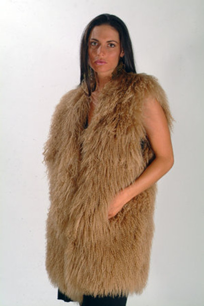 Brown Fur Curly Vest