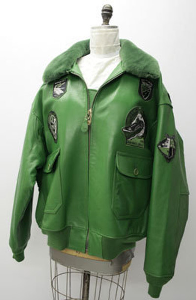 Leather Mens Green Bomber Jacket w/ Lamb Collar