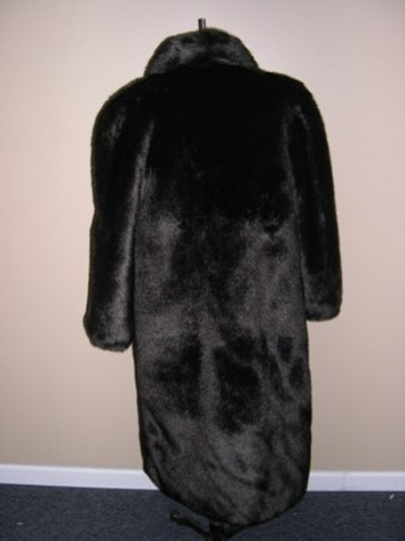 Dark Brown Faux Mink Long Coat