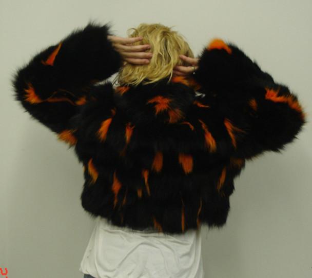 Shreared Black & Orange Fox Jacket with Zipper