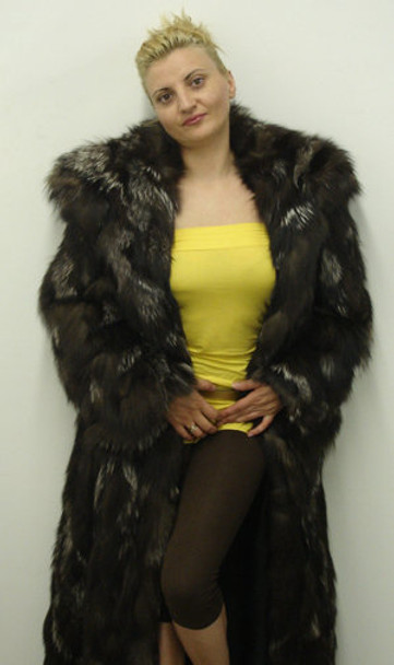 Silver Fox Fur Long Coat Double Hood