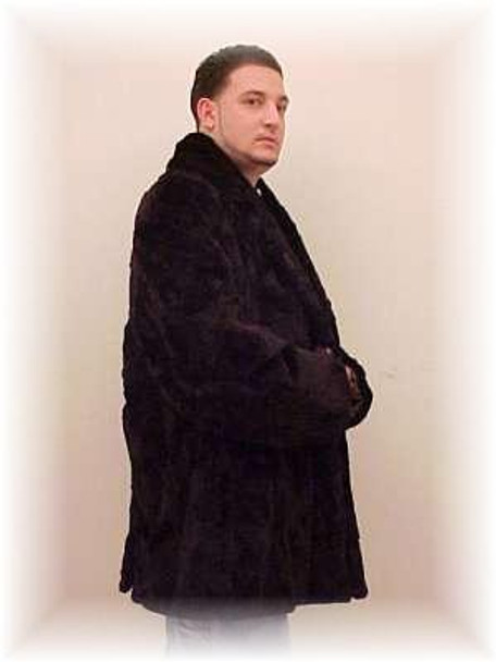 Men's Black 3/4 Length Sheared Mink Fur Jacket