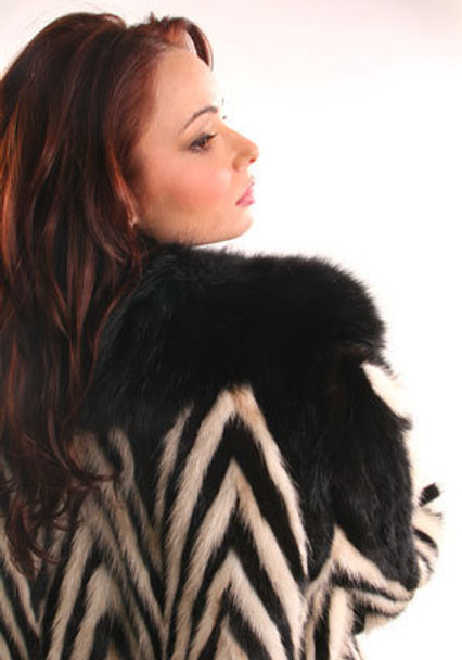 Black and White Mink 3/4 Jacket with Full Skin Fox Collar