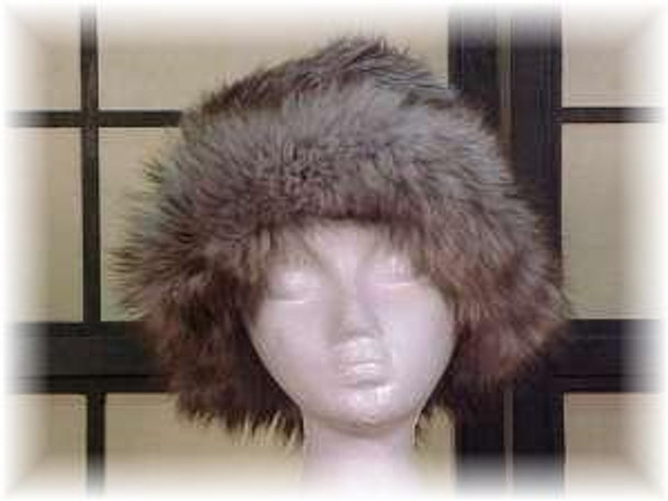 Gray Faux Fur Hat with Dyed Blue Fox Fur Trim