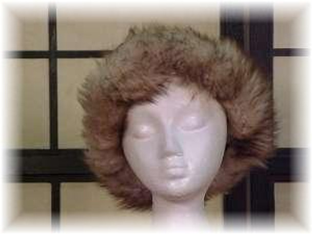 Brown Faux Fur Hat with Brown Fox Trim