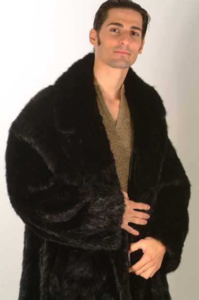Men's Black Mink Fur 3/4 Jacket