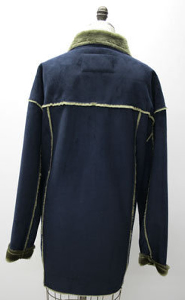 Women's Shearling Lamb Navy Blue Jacket