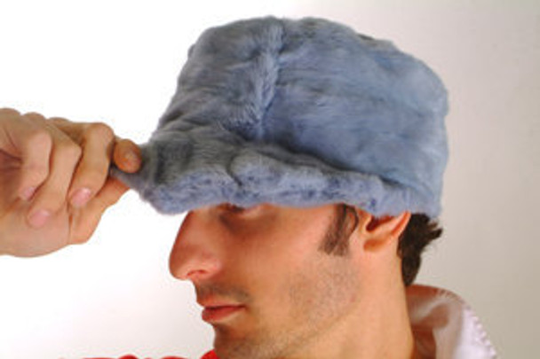 Light Blue Mink Fur Design Cap
