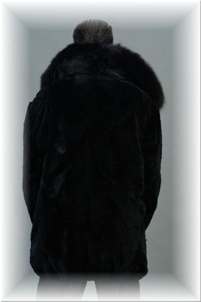 Sheared Mink Fur Bomber Jacket w/ Wing Collar