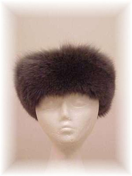 Full Skin Gray Fox Fur Head Wrap