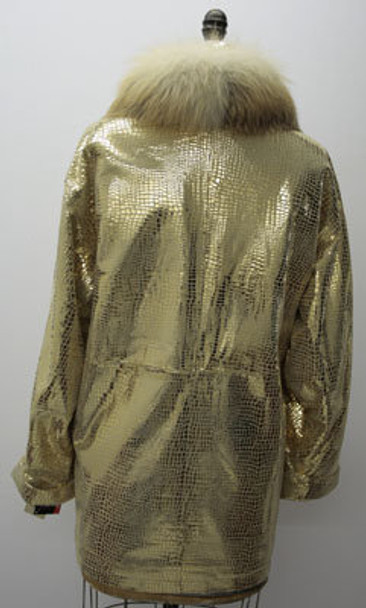 Women's Gold Snake Design Jacket w/Fox Collar