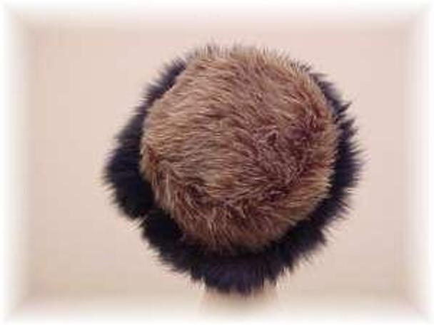 Gray Faux Fur Hat with Dyed Blue Fox Fur Trim 1