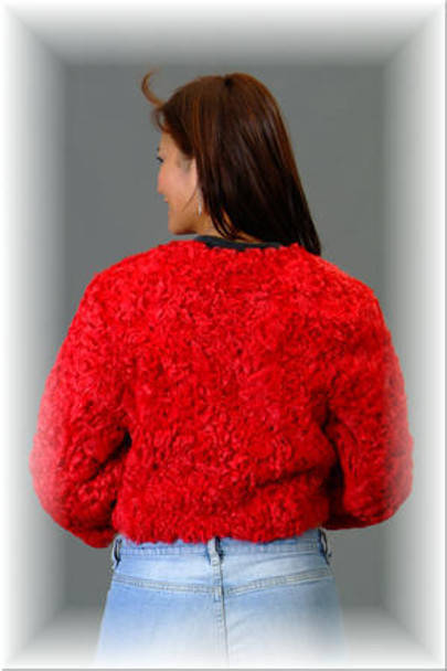 Red Persian Lamb Bolero Fur Jacket