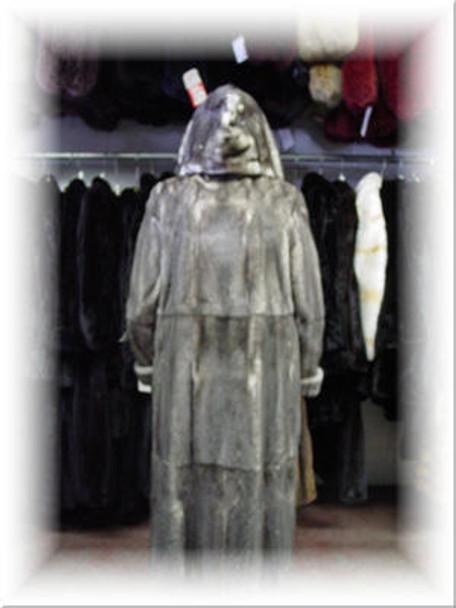 Buy Design Full Skin Gray Mink Fur Coat With Hood