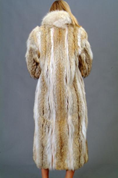 Vintage Coyote Coat with White Fox Tuxedo