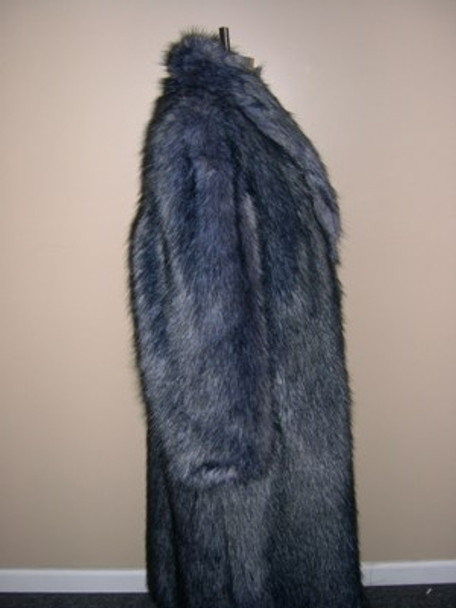 Faux Silver Fox Long Coat