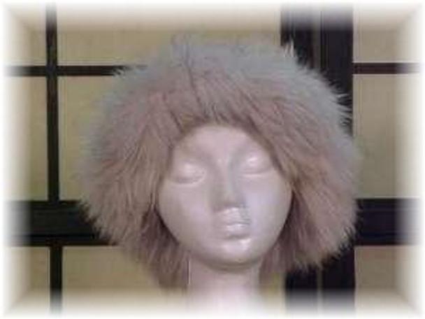 Gray Faux Fur Hat with Blue Fox Fur Trim