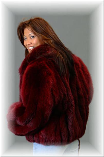 Burgundy Fox Bolero Fur Jacket with Fox Fur Collar