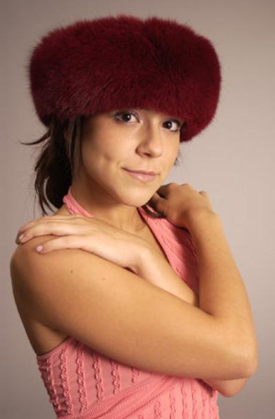 Fur Headwrap Dyed Burgundy Full Skin Fox