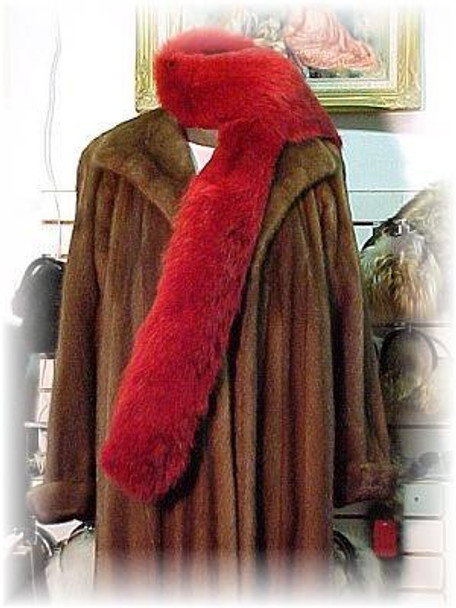 Full Skin Dyed Red Coyote Fur Scarf