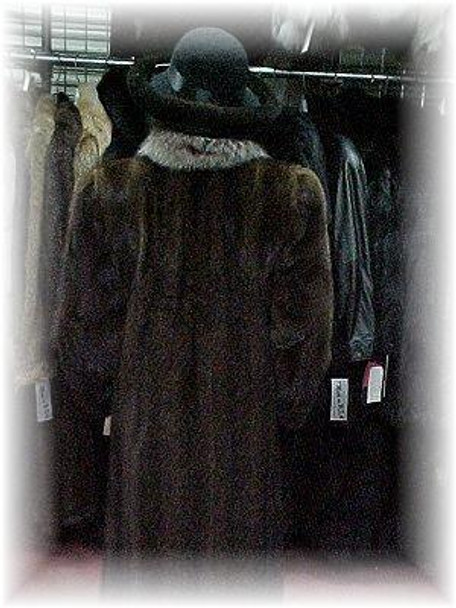 Buy Full Skin Mahogany Mink Fur Coat with Crystal Fox